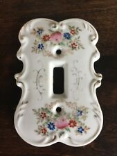 Vintage Single Porcelain Lightswitch Cover White w/ Flowers Japan