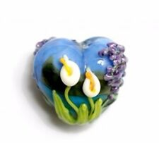 GL008 Premium Lampwork Artist Heart Bead 18x12mm *UK EBAY SHOP*
