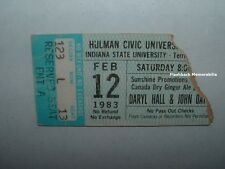 HALL & OATES Concert Ticket Stub 1983 HULMAN CENTER ISU TERRE HAUTE Very Rare