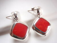 Reversible Red Coral and Mother of Pearl 925 Sterling Silver Stud Earrings