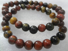 Tiger Eye Natural Yellow, Blue and Red Bracelet +++AAA