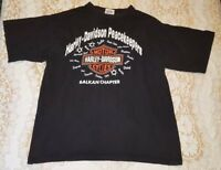 Vintage Harley-Davidson Black T-Shirt Peace Keepers Balkan Chapter Large