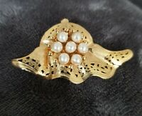 Vintage NEW Gold Tone Hat Faux Pearl Clothes Brooch Costume Jewellery