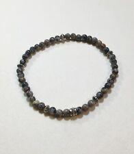 Handmade Stretch Gemstone Stacking Bracelet Alpine Agate Tibet Silver Sm-M (K)