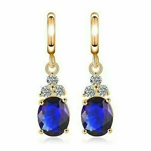 4 Ct Oval Blue Sapphire Drop/Dangle Women's Earrings Solid 14K Yellow Gold Over