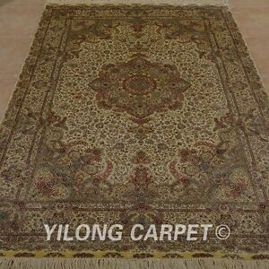 YILONG 6'x9' Handknotted Silk Rug Washed Home Library Antique Floor Carpet 0972