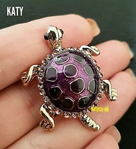 Vintage Style Gold Tone Purple Small Turtle Tortoise Crystal Brooch Pin Broach