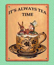 Métal Signe Plaque Rétro Vintage Style Mad Hatter Tea time Humour 20 x 15 cm