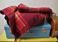 Vintage Travel RUG Maroon WOOL Picnic Check Plain Reversible Blanket Afghan