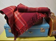 Vintage Travel RUG Maroon WOOL Picnic Check Plain Reversible Blanket Afghan