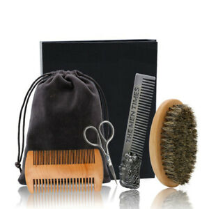 Beard Brush Set Double-sided Styling Comb Scissor Repair Modeling Cleaning C mH