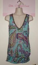 STUDIO Y ~ Colorful Embellished Paisley Chiffon Long Blouse Sz XS * VERY GOOD