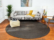 Handmade Braided Round Black Color Natural 6 Feet Jute Rug Area Rugs Carpet Mats