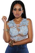 Body camicia maglia ricamo pizzo trasparente Embroidered Mesh Lace Bodysuit M