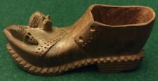RARE Hand Carved Wooden Treen Old Boot Shoe Pipe Holder Match Cigar Mouseman