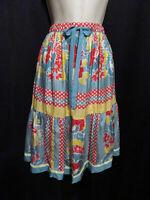 Johnny Was Silk Colorful Skirt Stretchy Waist Adjustable Ties Size M Medium