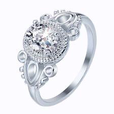 Elegant 925 Sterling Silver Oval Wedding Engagement White Topaz Ring Size: 9