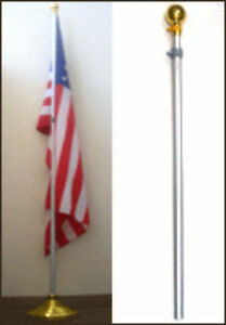 8ft Aluminum Banner Residential Indoor Flag Pole Gold Ball Flagpole ((NO BASE))