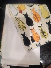 ULSTER WEAVERS  KITCHEN TEA TOWELS (2) CATS FROM BEHIND  NWT