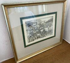 Antique Pen & Ink Block Print Charleston South Carolina Signed Framed