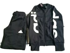 Adidas tracksuit girls Size 7/8 Small Black with White letters