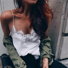 Womens Lace Bralette Strap V-neck Boho Tank Bra Vest Crop Top Beach Shirt Blouse