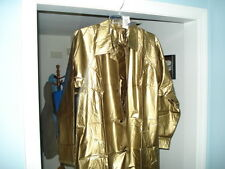 New 100% Shiny Gold Pvc/Vinyl SZ Sm Raincoat Trench Coat Slicker LTD Edition.