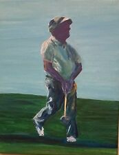 ENJOYING THE DRIVE by RAMfish Artist original signed GOLF COURSE GOLFER
