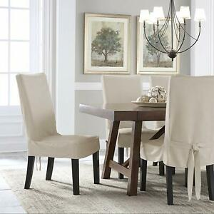 Serta Relaxed Fit Smooth Suede Slipcover for Dining Room Chair 2 Pk Ivory NEW