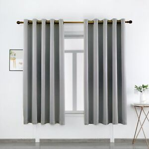 Pair Ready Made Thick Blackout Curtains Thermal Ring top Eyelet or Pencil Pleat