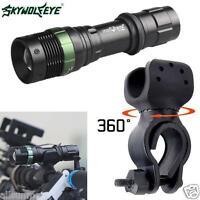 Super Bright XML T6 LED Zoom Lamp Flashlight   Bike Bicycle 360° Mount Clip