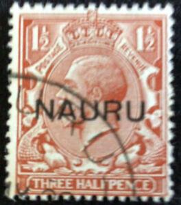 Nauru George V -1 1/2d Brown Surcharge SG15 very fine used C/V £55.00 in 2018.