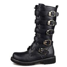 Sbox4 Punk Mens Military Black Goth Buckle Lace Up Combat Mid Calf Boots Straps