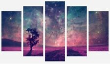 Abstract Fantasy Galaxy Stars - Purple Tree Field 5 Split Panel Canvas Pictures
