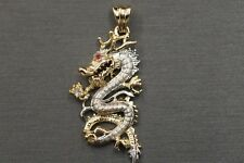 "14K Solid Yellow And White Gold Beautiful 3D Ruby Red Eye 1.4"" Dragon Pendant."