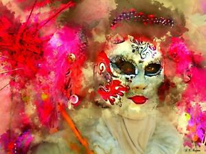 STUNNING WOMANS FACE MASK CANVAS PICTURE POSTER PRINT UNFRAMED 6283
