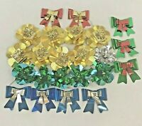 Vintage Christmas Foil Bows Tie Ons Tags Decorations Package Die Cut Presents