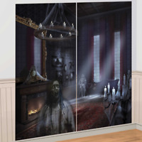 HALLOWEEN DARK MANOR HAUNTED HOUSE SCENE SETTER POSTER PARTY DECORATION GHOST