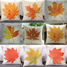 Vintage Linen Maple Leaf Cushion Cover Throw Waist Pillow Case Car Home Decor UK