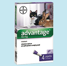 ADVANTAGE SPOT ON BAYER 4 PIPETTE PER GATTI OLTRE 4 KG.