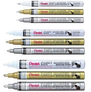 Pentel Permanent Paint Marker Pen - Extra Fine Fine Medium - White Gold Silver