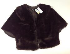 NEW SL NY Faux Fur Bolero Jacket Size Medium M Brown Dress Shrug Cape Coat $99
