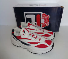 FILA Mens White Classic Leather Venom Low Trainers Shoes Lace Up New UK Size 10