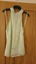 Rocha John Rocha pale green mint evening Silk evening top 10 NEW sequin bridal