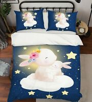 3D Star Rabbit ZHUA729 Bed Pillowcases Quilt Duvet Cover Set Queen King Zoe