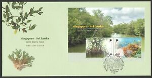 SINGAPORE 2021 SRI LANKA JOINT ISSUE FIRST DAY COVER WITH SOUVENIR SHEET 2 STAMP