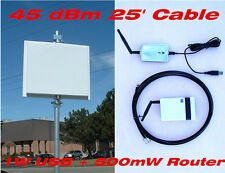 45dBm 32W 2.4G USB Repeater Router Smart Antenna 25f Cable Mile  WIFI Long Range