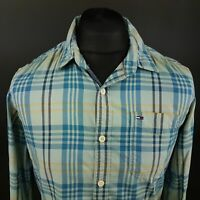 Tommy Hilfiger Mens Shirt SMALL Long Sleeve Blue Regular Fit Check Cotton