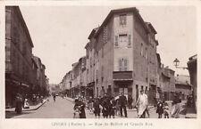 GIVORS rue de belfort et grande rue horlogerie bijouterie Delorme timbrée 1909