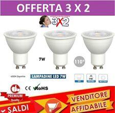 3 FARETTO GU10 LED LAMPADINA A BASSO CONSUMO 110° 7 W LUCE NATURALE LAMPADA 3X2